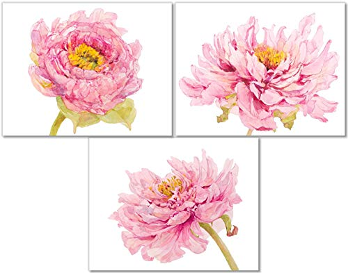 Pink Peonies Art Prints - Peony Flower Wall Decor - Set of 3-11x14 - Watercolor Floral Botanical - Unframed ()