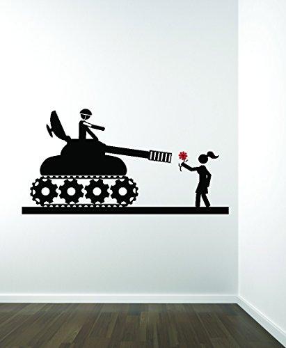 D 585 2 War Tank Soldier Lover Rose Flower Vinyl Wall Decal, Black, 16