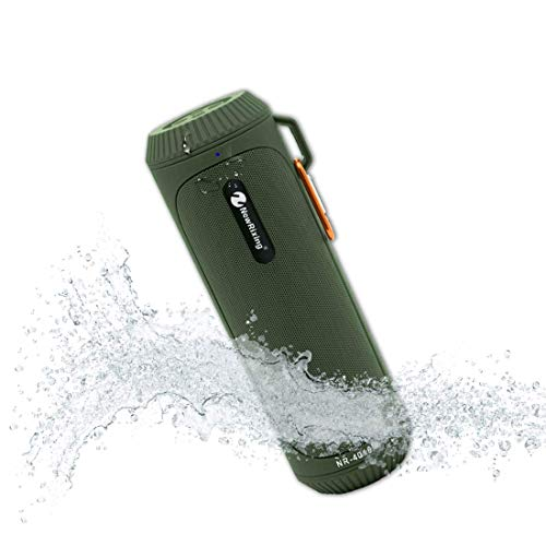 20-Hour Playtime and Loud Mini Portable Bluetooth Speakers with Waterproof,Enhanced Bass Superior Sound,LED Flashlight,TF Card, FM Radio, Built-in Mic Outdoor Wireless Speaker Water-Resistant (Green)