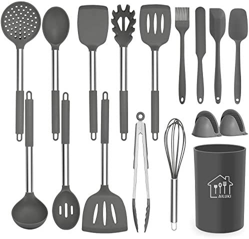 Silicone Cooking Utensil Set, AILUKI Kitchen Utensils 17 Pcs Cooking Utensils Set,Non-stick Heat Resistant Silicone,Cookware with Stainless Steel Handle – Grey