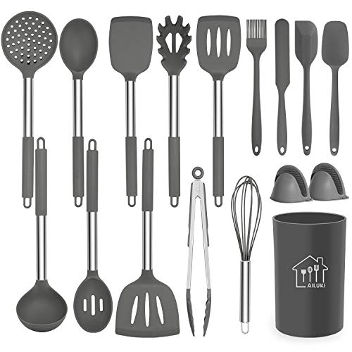 Silicone Cooking Utensil Set,Kitchen Utensils 17 Pcs Cooking Utensils Set,Non-stick Heat Resistant Silicone,Cookware with Stainless Steel Handle