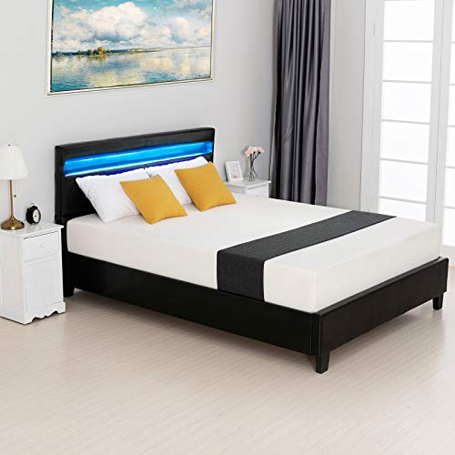 Price comparison product image LAGRIMA Modern Upholstered Faux Leather Platform Bed with LED Light Headboard,  with 2.8-Inch Solid Wooden Slat Support,  Black,  Queen Size