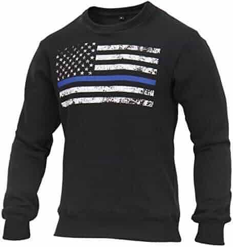 Rothco Thin Blue Line Flag Crew Neck Sweatshirt e290713628f4