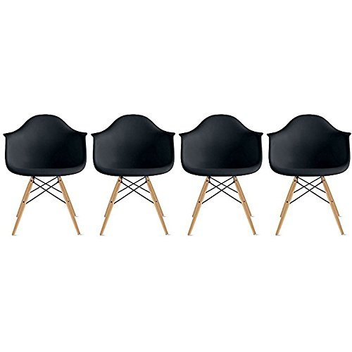 2xhome - Set of Four (4) - Black - Plastic Armchairs - Natural Wooden Legs Dining Room Chair - Lounge Arm Arms Armed Chair Chairs Armchairs Seat Wood Dowel Leg Legged Base