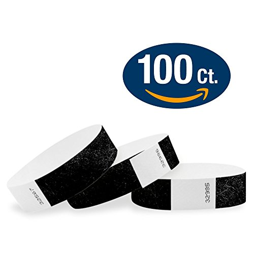 """WristCo Black 3/4"""" Tyvek Wristbands - 100 Pack Paper Wristbands For Events"""