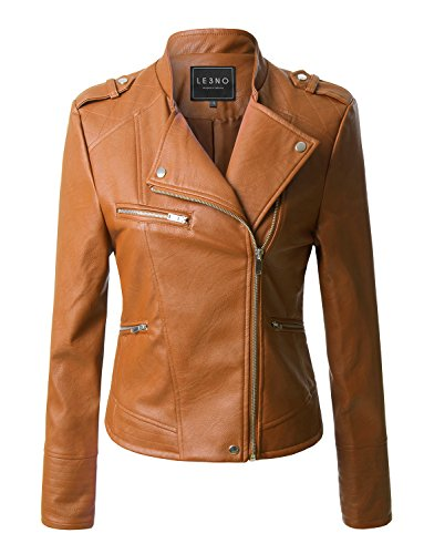 LE3NO Womens Quilted Moto Biker Faux Leather Jacket With Zipper Pockets
