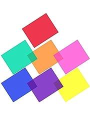 GOLRISEN Light GelS,Photography Gels,Correction Lighting Gel Filter 14 Pcs Overlays Film Plastic Sheets Gel Lighting Filters with Yellow Pink Purple Orange Blue Red Green Color for Photo LED Lights