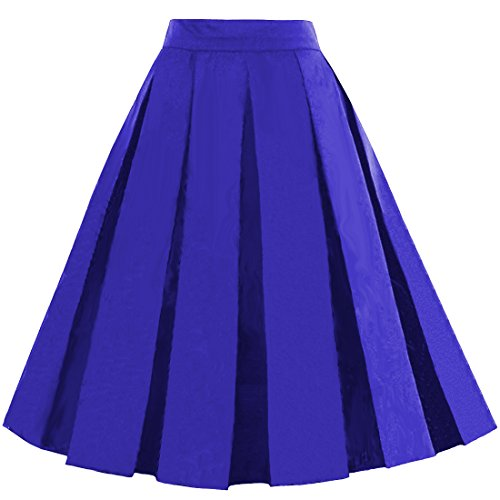 (Dressever Women's Vintage A-line Printed Pleated Flared Midi Skirts Royal Blue XX-Large)