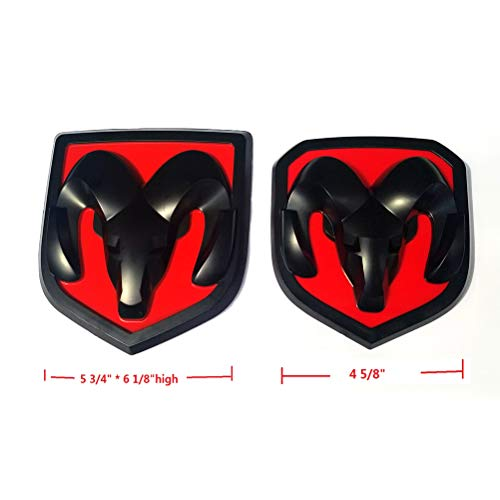 Yoaoo 2pcs OEM Front Grille EMBLEM and Rear Tailgate BADGE 3D Replacement for Ram 1500 2500 3500 Matte Black red fit 2013-2018 ()