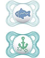 MAM Originele S157 fopspeen van siliconen, ultrazacht, voor baby's van 0 maanden en blauw (2 stuks) met automatische sterilisatorbox, Spaanse versie, 3000 g