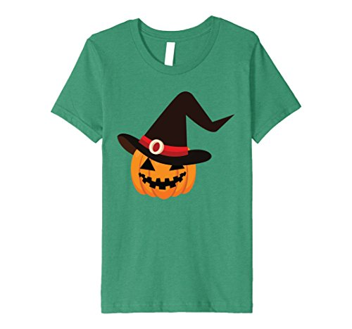 Kids Premium T-Shirt Funny Pumpkin Witch Hat Scary Halloween 4 Kelly Green