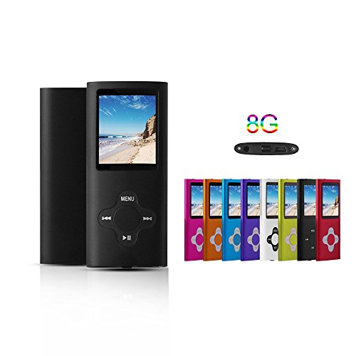 G.G.Martinsen Black 8GB Versatile MP3/MP4 Player with Photo Viewer, Mini USB Port Slim 1.78 LCD, Digital MP3 Player, MP4 Player, Video Player, Music Player, Media Player