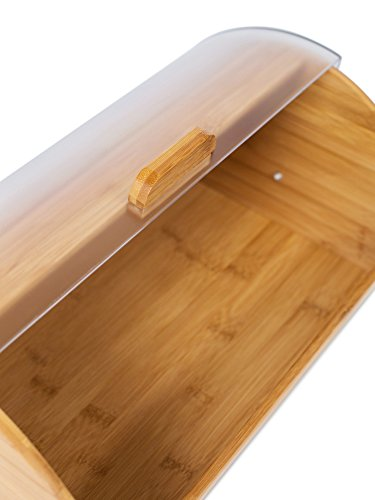 Internet's Best Bamboo Bread Box | Kitchen Food Storage Container | Wooden Bread Holder | Roll Top (Brown) by Internet's Best (Image #2)