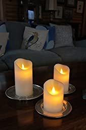 Air Zuker Flameless Candles Battery Operated Candles Real Wax Pillar LED Candles with Dancing Flame with 10-key Remote and Cycling 24 Hours Timer, Height 4\