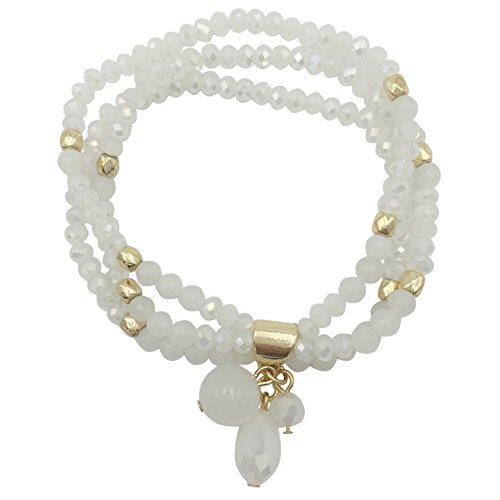 Rows Red Coral Bracelet (3 Row Glass & Natural Stone Beaded Gold Tone Stretch Bracelet (White))
