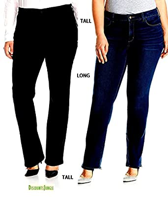 JD&C Womens Plus Size Blue/Black Denim Jeans Tall Long Bootcut Straight Leg Pants