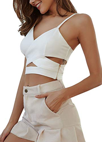 (Radish Stars V-Neck Cut Out Crop Top Sexy Cross Spaghetti Strap Cropped Camis Vest White)