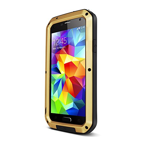Galaxy S5 Waterproof Case, Pasonomi® [Heavy Duty] Aluminum Hard Metal Corning Gorilla Glass Dustproof Shockproof Water Resistant Protective Case Attached Screen Protector for Samsung Galaxy S5 S V SM-G900 (Golden)