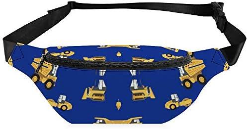 ロイヤルの建設トラック黄色 ウエストバッグ ショルダーバッグチェストバッグ ヒップバッグ 多機能 防水 軽量 スポーツアウトドアクロスボディバッグユニセックスピクニック小旅行