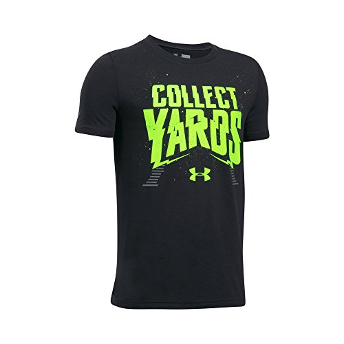 Under Armour T-shirt Football (Under Armour Boys' Collect Yards T-Shirt,Black (001)/Fuel Green, Youth X-Large)