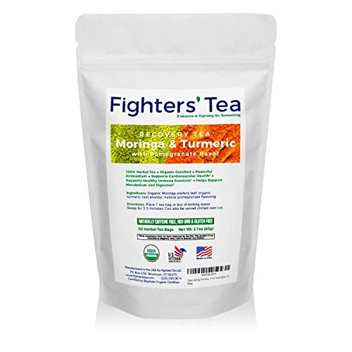 Fighters Tea, USDA Organic Non GMO Caffeine-Free and Pomegranate Flavored Moringa and Turmeric Herbal Tea Bags (30ct) Packed With Antioxidants and Anti-Inflammatories To Support Immune Function ()