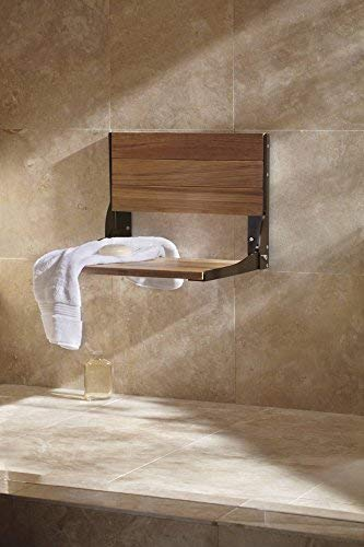 Moen DN7110OWB Home Care Wall Mounted Teak Wood Aluminum Folding Shower Seat, Old World Bronze