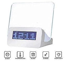 LZHKHD5 Alarm Clock LED Fluorescent Message Board Alarm Clock, Luminous Sensor Lazy Student Music Alarm Clock, Three Groups of Alarm Clock Temperature Countdown Bluetooth Clock