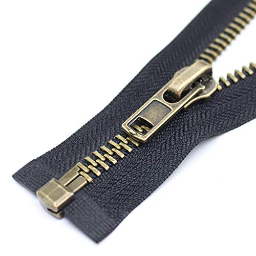 (YaHoGa #8 28 Inch Anitique Brass Separating Jacket Zipper Y-Teeth Metal Zipper Heavy Duty Metal Zippers for Jackets Sewing Coats Crafts (28