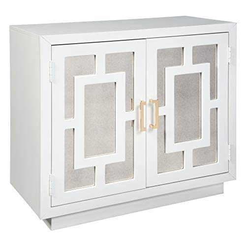 Panels Source Furniture Office - Ashley Furniture Signature Design - Walentin 2-Door Accent Cabinet - Contemporary - White Finish - Gold Finished Metal Handles - Geometric Pattern on Mirror Panel Doors