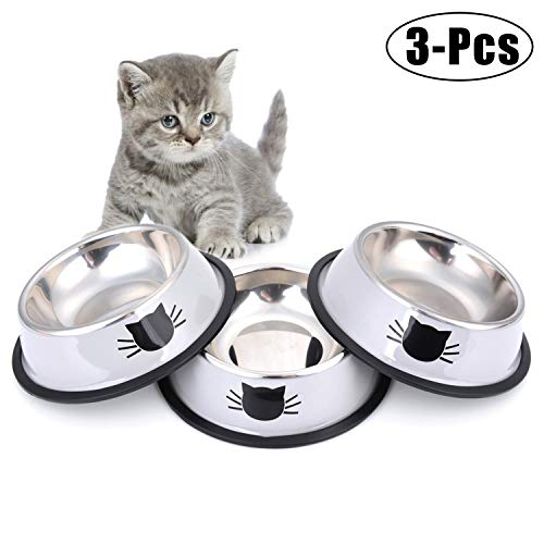 (Legendog Cat Bowl Pet Bowl Stainless Steel Cat Food Water Bowl with Non-Slip Rubber Base Small Pet Bowl Cat Feeding Bowls Set of 3 (Grey))