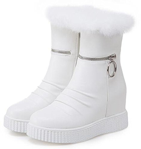 Wedge Hidden Side Boots Calf Mid Fur Comfy Fluffy Platform IDIFU High Zipper Women's Inside Heels White aq0XqvBx