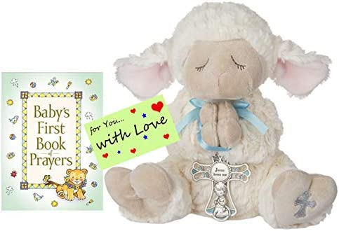 Amazon.com : Baptism Christening Gifts for Boys Serenity Prayer Lamb w/Crib Cross and Book of Prayers w/Gift tag(Boy Blue) : Baby