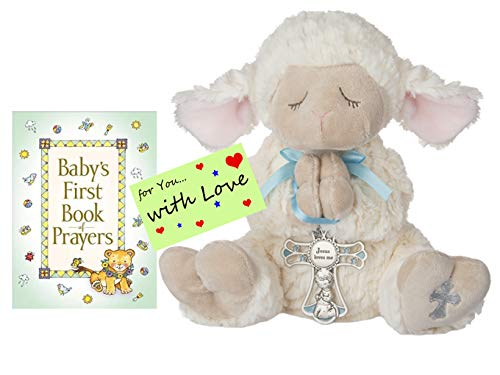 Baptism Christening Gifts for Boys Serenity Prayer Lamb w Crib Cross and Book of Prayers w Gift tag Boy Blue