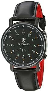 Detomaso Spacy Timeline 2 - Reloj de cuarzo para hombres, con correa de cuero de color negro, esfera negra