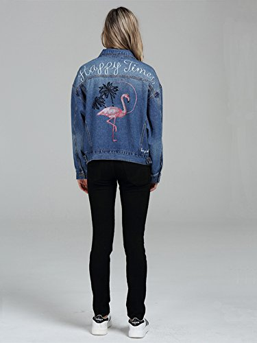 Lav Simple Femme Coats G Brod Boutonnage Classique Minetom Rose Bleu Bleu Blousons Jeans Jacket Veste lgant Manteaux Blouson Denim O0zwdqR