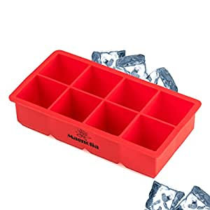 Silicone Large Ice Cube Tray - 8 Large 2 Inch Cubes , Jumbo Cubes Keep Your Cocktail Chilled For Hours Without Diluting It- Jumbo Whiskey and Cocktail Large Cubes.