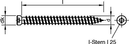 100 Stck profiBAUline Fensterrahmenschrauben 7,5 x 182 Zylinderkopf-ZK 7,5 mm und I-Stern I25 inklusive Bit T25