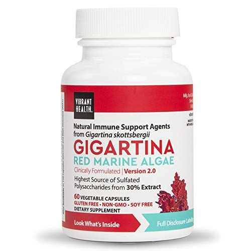 Vibrant Health - Gigartina Red Marine Algae, Natural Support for Immune Function and Healing, Gluten Free, Dairy Free, Non-GMO, Vegetarian, 60 Count (FFP)