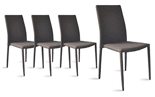 Dining Room Chairs Set of 4, Fabric Chair for Living Room 4 Pieces (Grey)