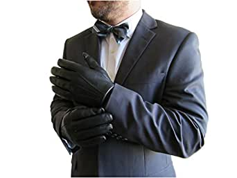 Fownes Men's Cashmere Lined Black Lambskin Leather Gloves-S