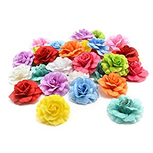 Fake flower heads in bulk Wholesale for Crafts DIY Artificial Silk Rose Peony Heads Decorative Stamen Fake Flowers for Wedding Home Birthday Decoration Vases Decor Supplies 30PCS 4.5cm (Colorful) 4