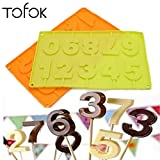 Tofok 10 Even Silicone English Alphabet 0-9 Pattern Ice Cubes Mold With Sticks DIY Chocolate Lollipop Mould Home DIY Baking Tool