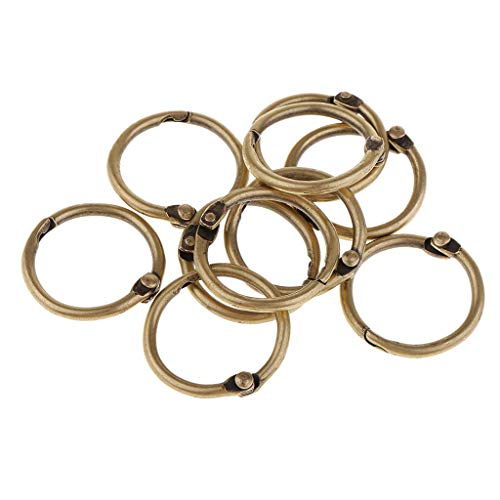 SM SunniMix 10 Pieces Bronze Metal Open Jump Rings Blinder Split Rings Loose Leaf Paper Blinding Ring - Hold About 100 Pages