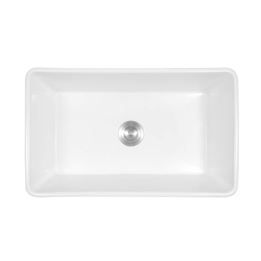 Sarlai 30'' Farmhouse Kitchen Sink White Porcelain Vitreous, SUC3018R1 Fireclay Single Bowl Kitchen Sink by Sarlai (Image #4)