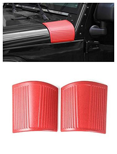 FMtoppeak 3 Colors ABS Auto Hood Angle Wrap Cover Sticker For Jeep Wrangler 2007-2017 (Red)