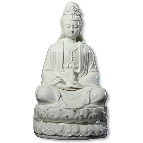 ICNBUYS Vintage Guanyin Buddha Statues Porcelain White Meditation on Lotus Home Decoration Height 12