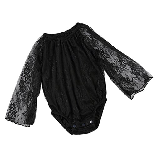 Sunscreen Baby Costume (Fabal Summer Baby Girl Lace Floral Long Sleeve Jumpsuit Romper Outfits Clothes (80, Black))