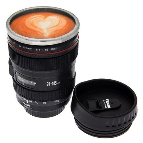 BinnBox Camera Lens Coffee Mug / Cup / Thermos with Drinking Lid & Quality Stainless Steel Interior with BinnBox Velvet Bag