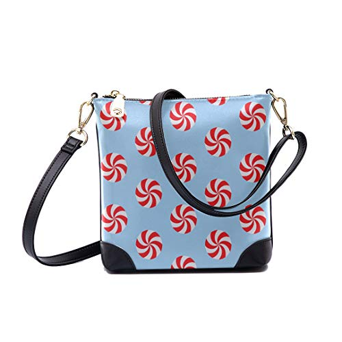 Shoulder Bag Christmas Peppermints Candy Pattern For Women Bucket Crossbody