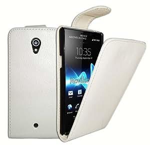 Funda de piel en color Blanco para Sony Xperia T LT30P